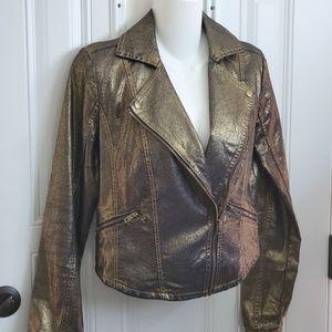 ROCK REPUBLIC gold denim moto jacket M